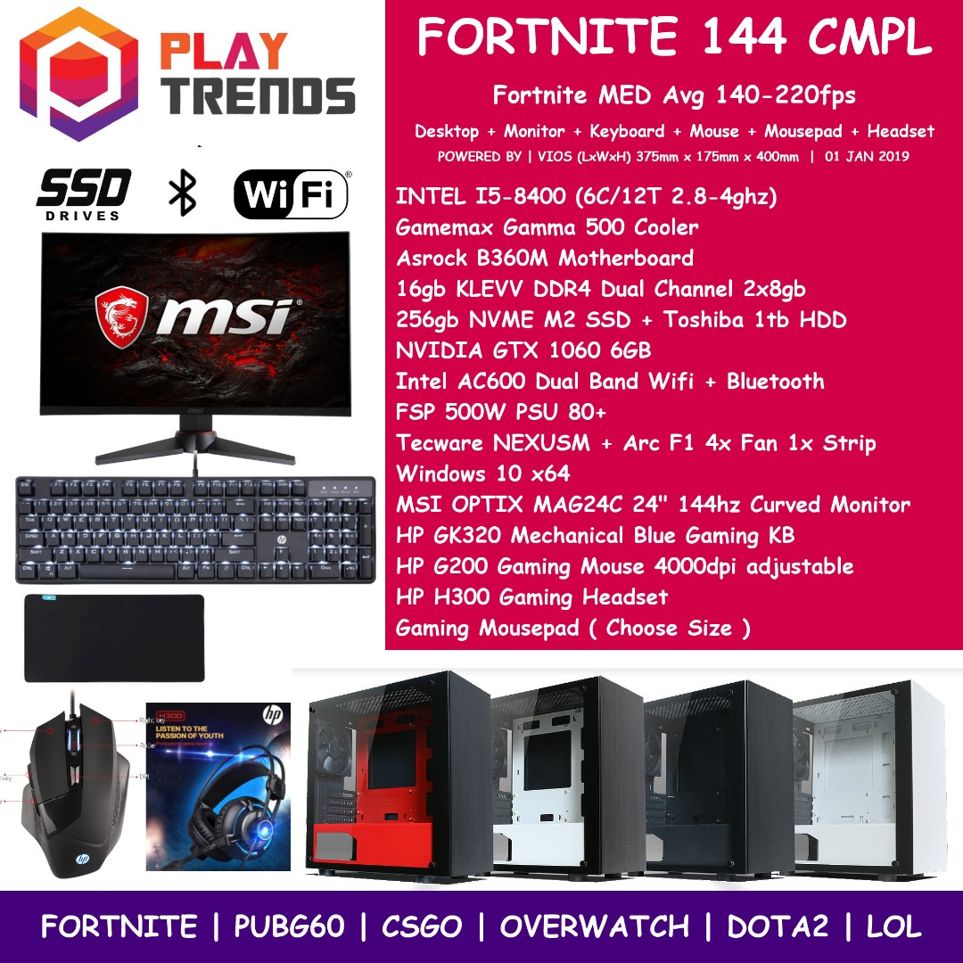 FORTNITE GAMING PC 144M INTEL I5-8400 16gb Ram 256gb NVME SSD GTX 1060 6gb  NVIDIA GTX1060 NEXUSM Tecware Nexus MSI OPTIX MAG24C 144hz Curved FTNCMPL