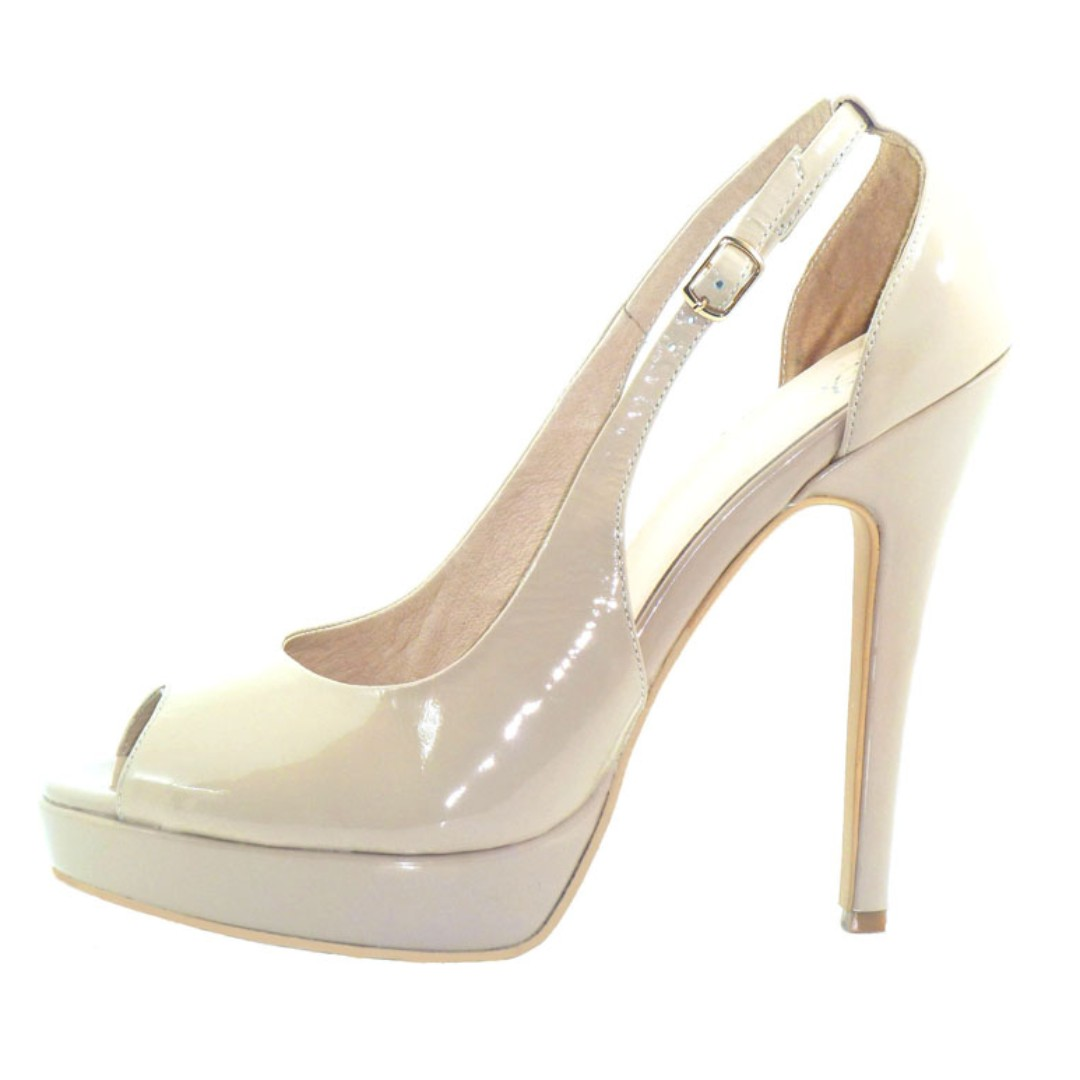 Glamour Nude 100% Leather platform heels- BRAND NEW IN BOX