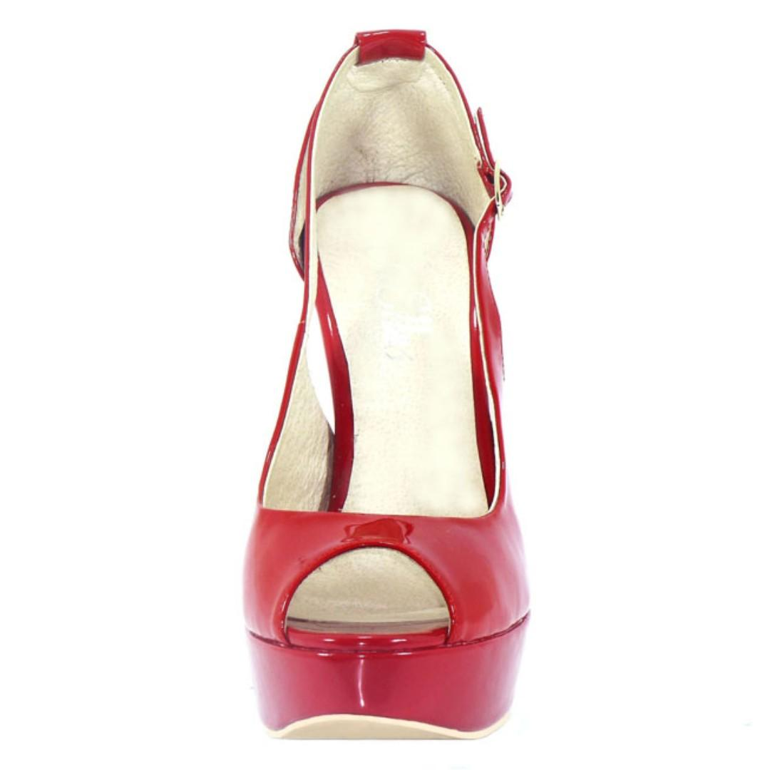 Glamour Red 100% Leather platform heels - BRAND NEW IN BOX