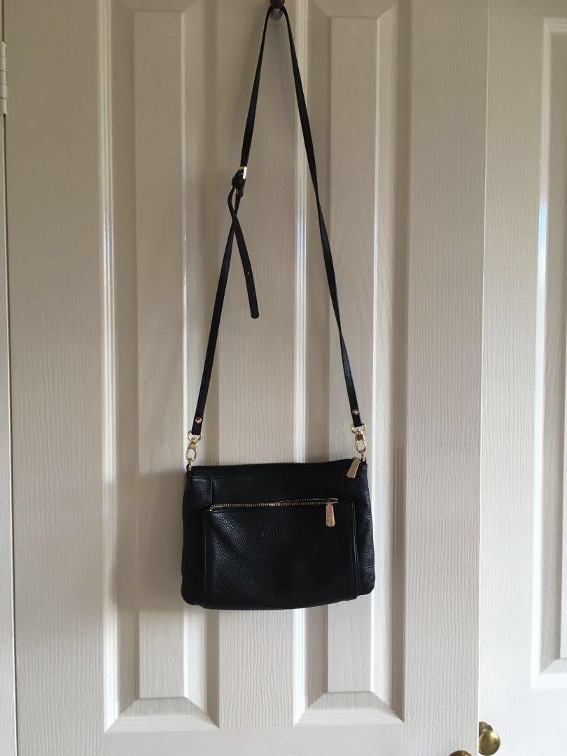 Italian leather black cross body bag from Pierre Cardin