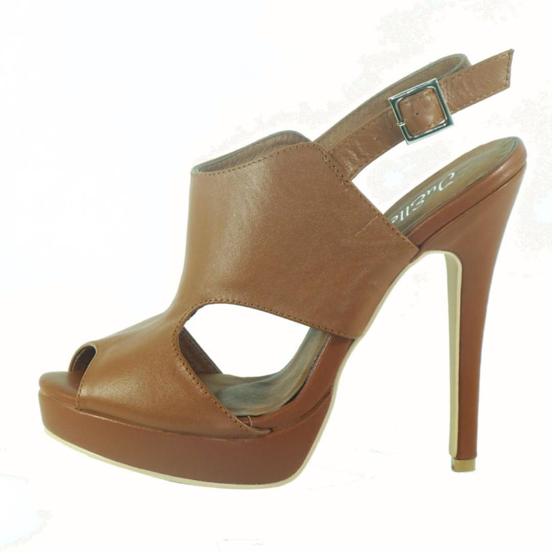 Jet Tan 100% Leather Platform Heels - BRAND NEW IN BOX