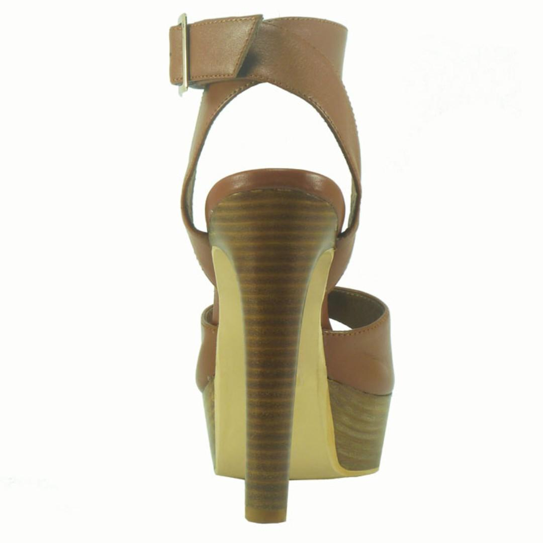 Jungle Fever Tan 100% Leather platform heels- BRAND NEW IN BOX