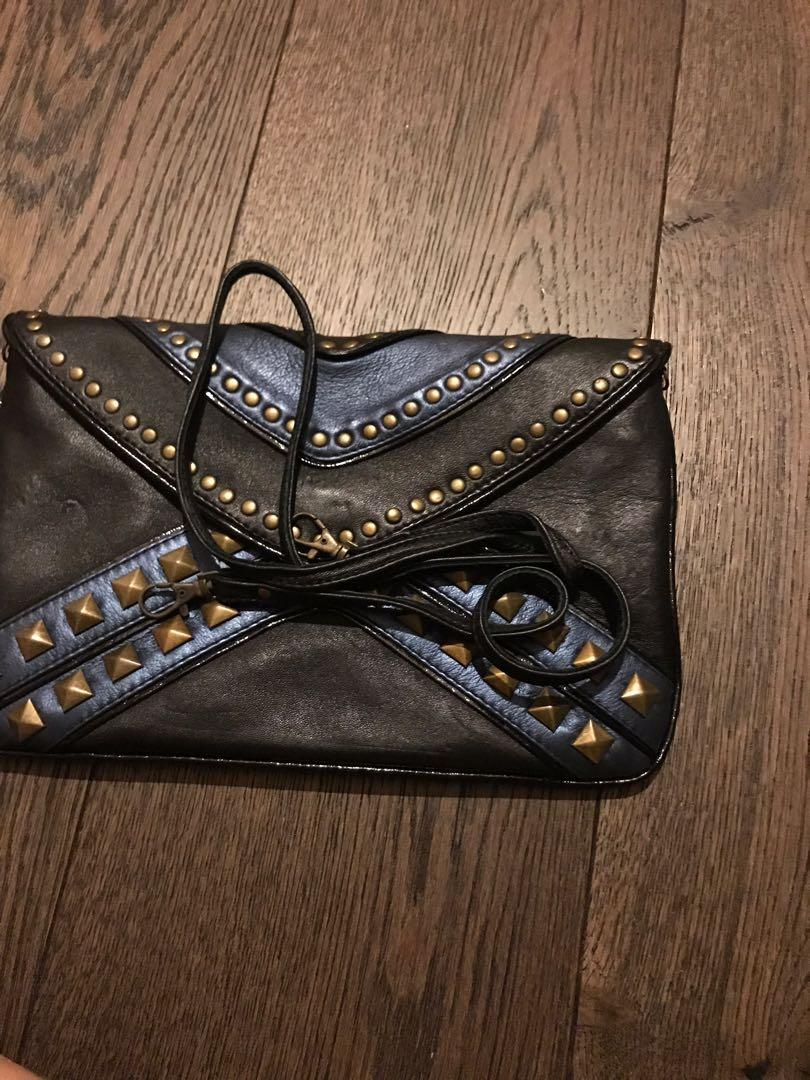 Leather clutch with strap
