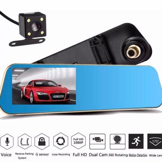 "HD 4.3/"" 1080P Dual Len Video Recorder Dash Cam Rearview Mirror Car Camera DVR UR"