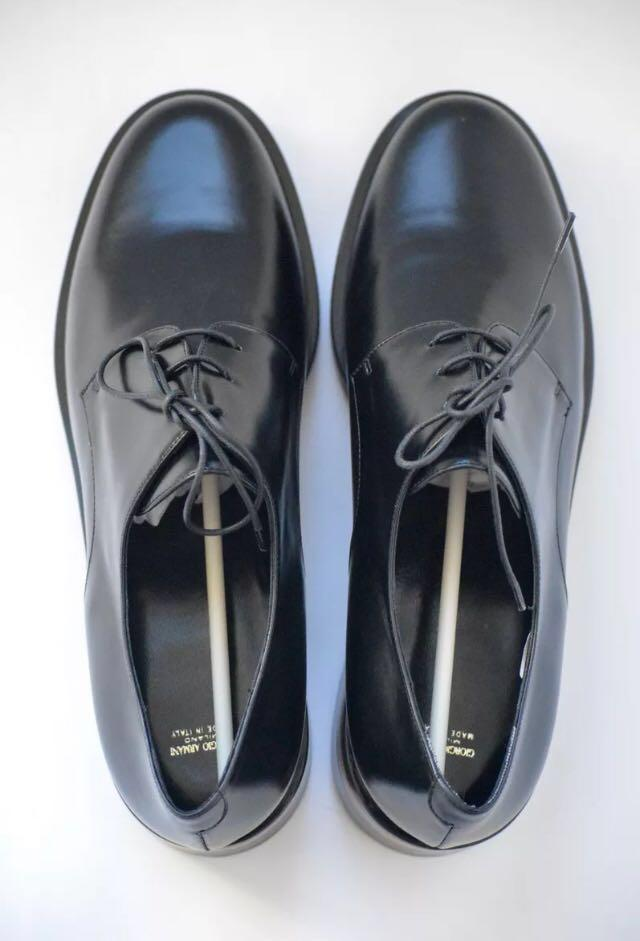 NEW Giorgio Armani Black Leather EU 38 Lace-up Shoes (with Original Shoe Bags & Box)