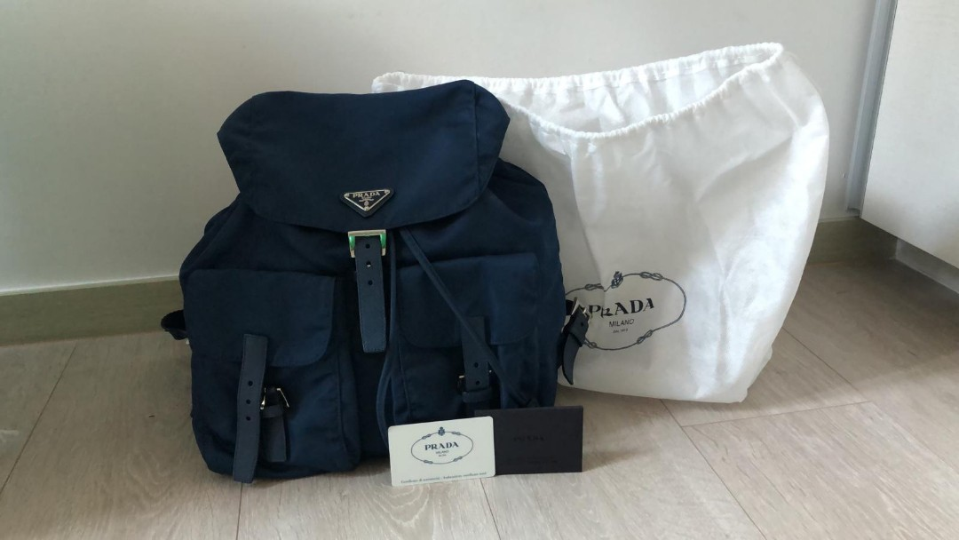 009c2b2b6426 prada blue backpack, Luxury, Bags & Wallets, Backpacks on Carousell