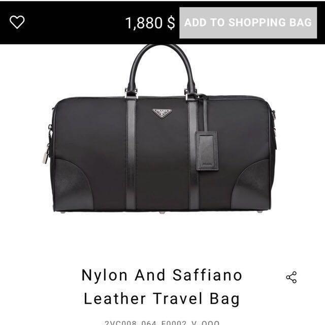 aa768fc0ce PRADA MILANO-Nylon and saffiano leather travel bag