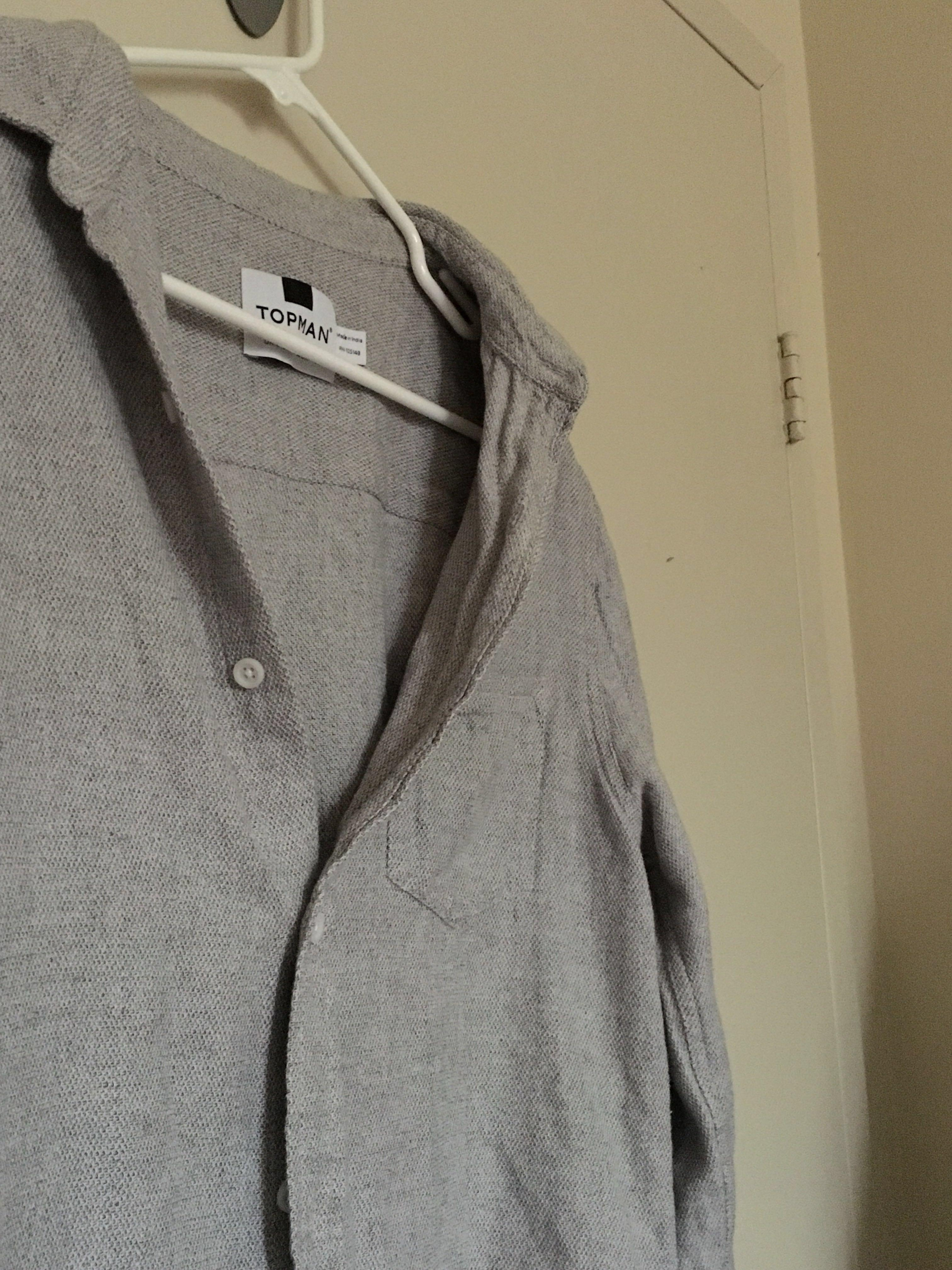 Topshop oversized grey thick button up