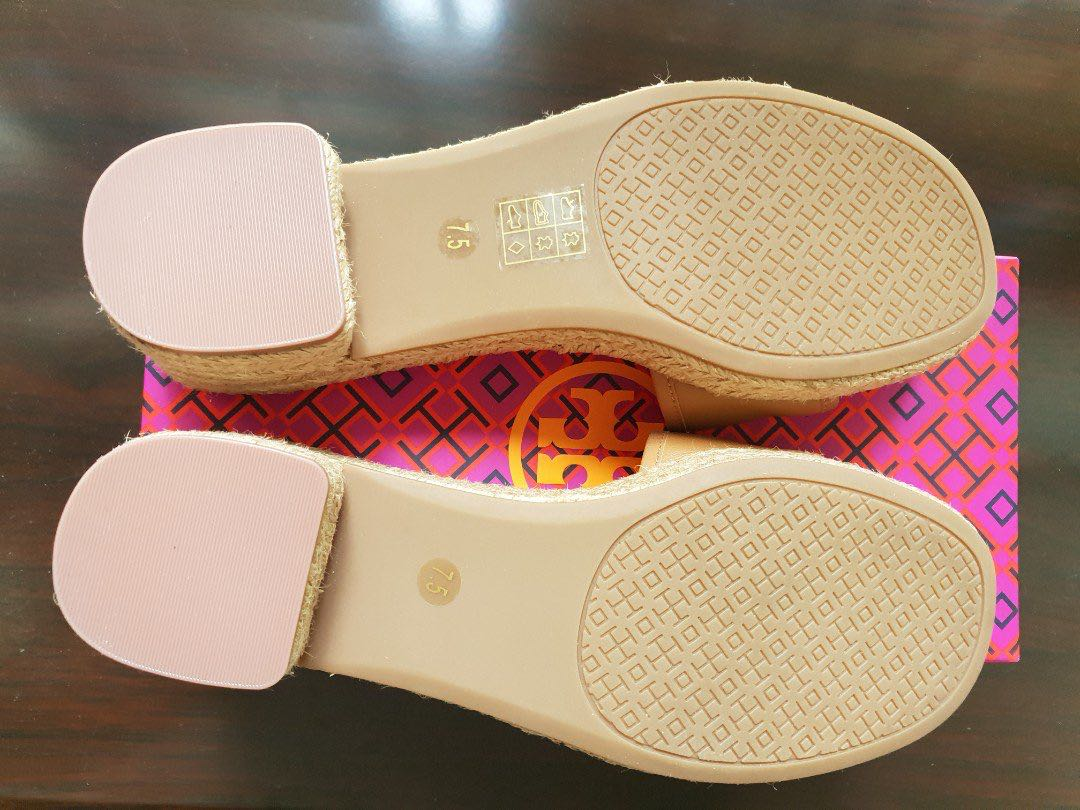 4a632334a TORY BURCH FLEMING 50MM ESPADRILLE QUILTED LEATHER SLIDE SANDAL TAN ...