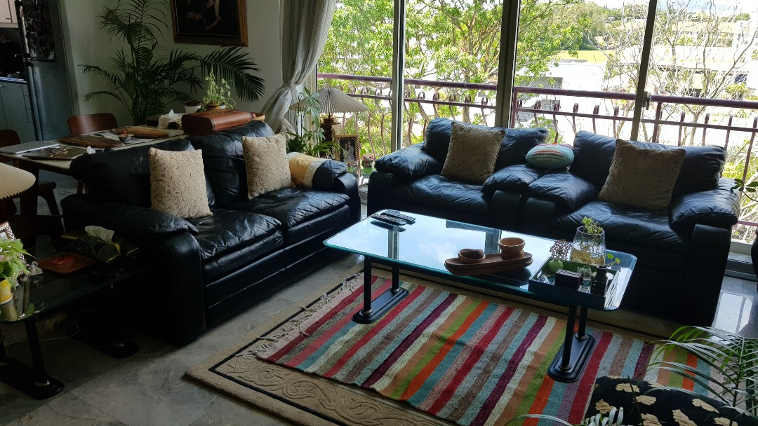 Used Leather Sofa Set With Side And Center Tables Furniture Sofas