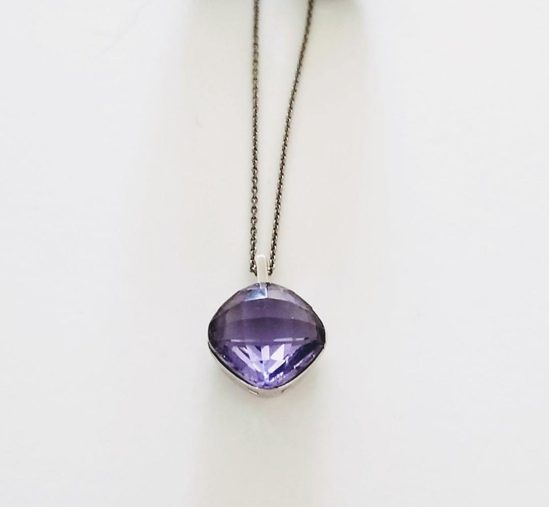VALENTINE'S SALE-Swarovski Necklace purple Austrian Crystal Silver toned