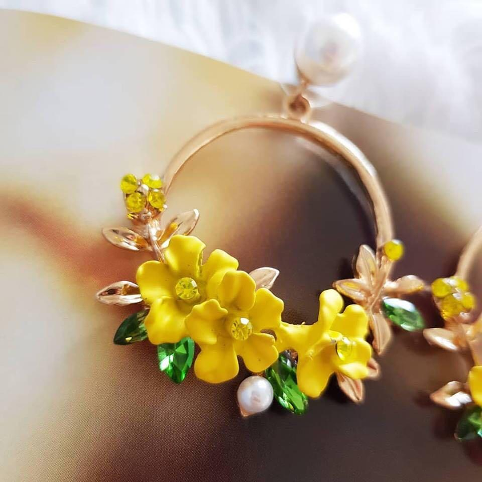 Yellow floral hoop drop summer fancy fashion earrings