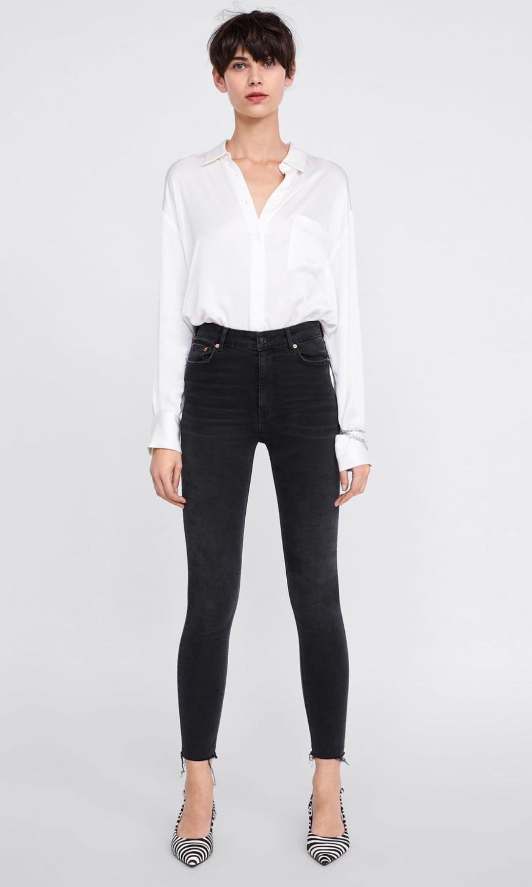 f61b8455 Zara High Waist Denim Jeans Shadow Black, Women's Fashion, Clothes ...