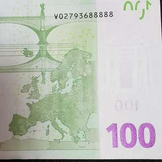 100€ Euros note euro new lucky number 88888