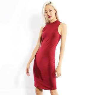 🚚 Young Hungry & Free YHF Highneck red bodycon dress