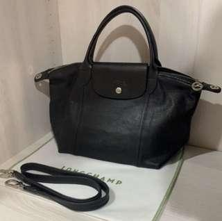 Longchamp 小羊皮黑色手提肩背兩用包 正品