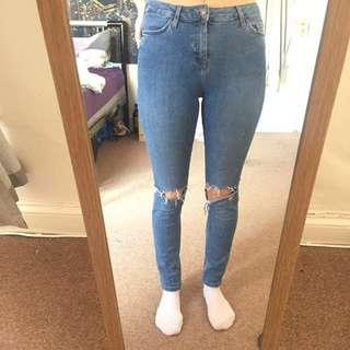 [SIZE 28] Topshop High Waist Ripped Skinny Jeans (Jamie)