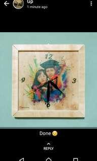 Jam dinding kayu desain foto suka-suka