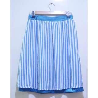 Reversible Sheer Chiffon A-line Midi Stripe Skirt