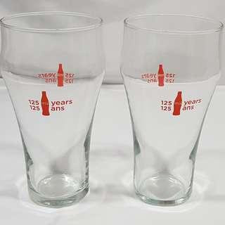 "Lot of 2 Coca Cola Bell Shaped Glasses Celebrating 125 Years. 6.25"" X 3"""