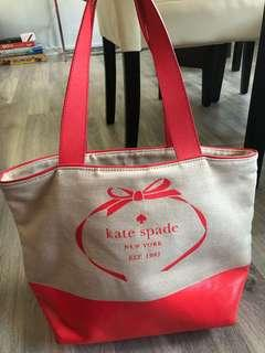 Kate Spade Canvas Tote in Geranium Leather Hologram Logo
