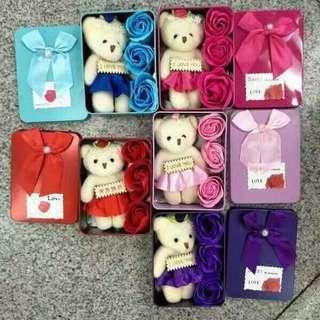 Valentine's flower soap with teddy bear