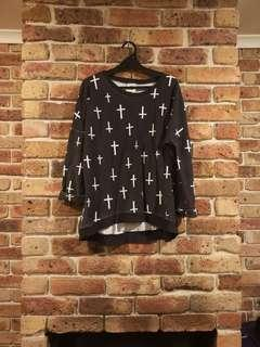 (PRE-LOVED) COTTON ON long sleeve with crosses ❤️