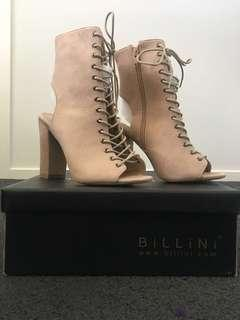 Billini Bambi Nude Suede Lace Up Boots AU7 Used