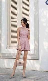 🚚 Embroidery High Lace Romper Pink