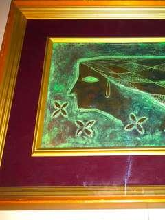Oxidized Bronze Framed Art in Wooden Frame with Glass