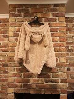 (NEW) Light brown BUNNY fur jacket