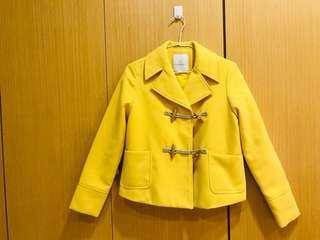 🚚 黃色短版厚實外套