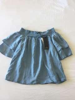 Cotton On Denim Off Shoulder Top Size S BRAND NEW