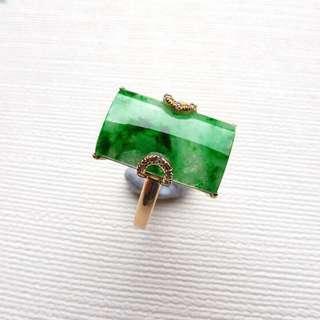 Chinese Natural Green Grade A Jadeite Jade Ring 18K Yellow Gold 7.0