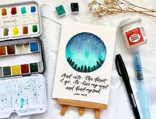 🚚 Galaxy/aurora calligraphy card