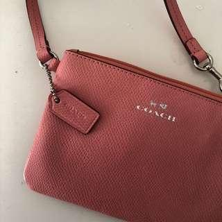 Genuine Coach Pink Leather Bag Wristlet