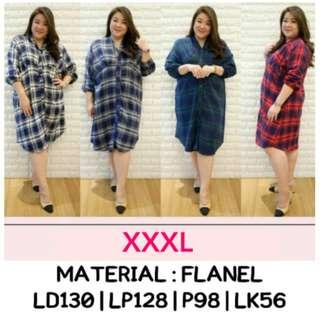 Dress Flanel Jumbo XXXL Dress Flanel Bigsize Kancing 3XL Checked Flanel Dress Jumbo