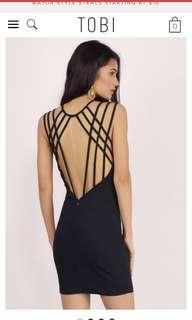 NWT TOBI Black Bodycon Dress with Strappy Back