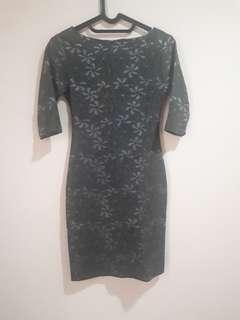 Preloved Olive Handmade Brocade Mini Dress