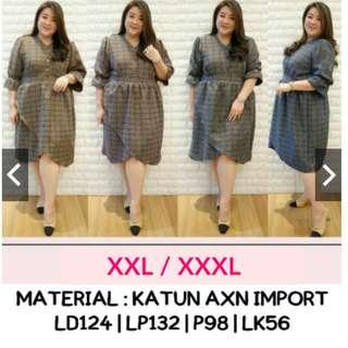 Checked Dress Jumbo XXL XXXL Dress Tulip Jumbo Dress Bigsize Motif Kotak