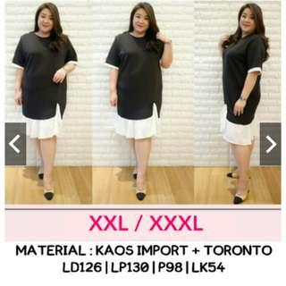 Dress Hitam Jumbo XXL XXXL Dress Hitam Putih Jumbo Dress Kombi Bigsize Dress Bahan Kaos Jumbo