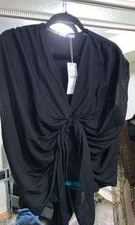 Zara Black Front Tie Top