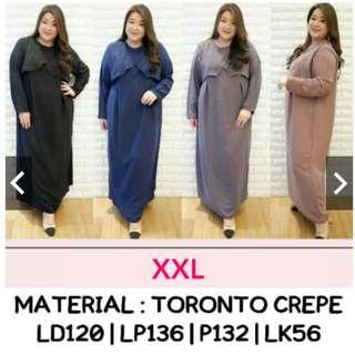 Maxi Dress Panjang Jumbo XXL Dress Muslimah Jumbo Dress Muslimah Bigsize Dress Panjang Bigsize