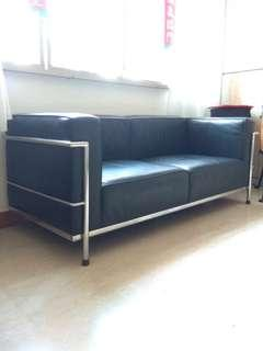 Sofa 2 seater half leather