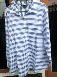 kemeja pattern biru putih