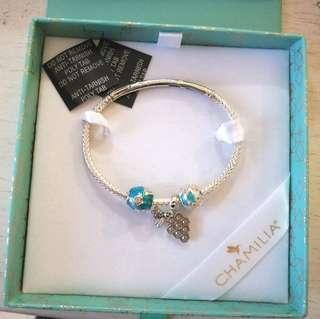 Chamilia Azure Skies Charm Bracelet Bangle 4pc Gift Set