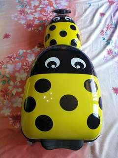 Lady bug travel suitcase with shell case backpack