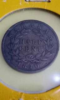 Half Cent 1870, Sarawak Coin # B005