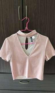 Pink velvet V neck crop top