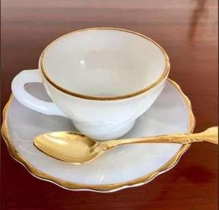 Fire King Tea Set with Golden plated spoon